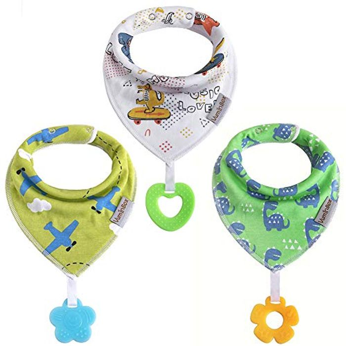 Pack of 3 Baby Bibs with Teether