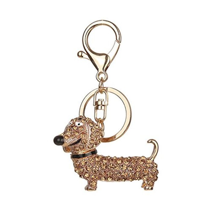 HENGSONG Lovely Dog Dachshund Shape Keychain with Rhinestones FREE DELIVERY