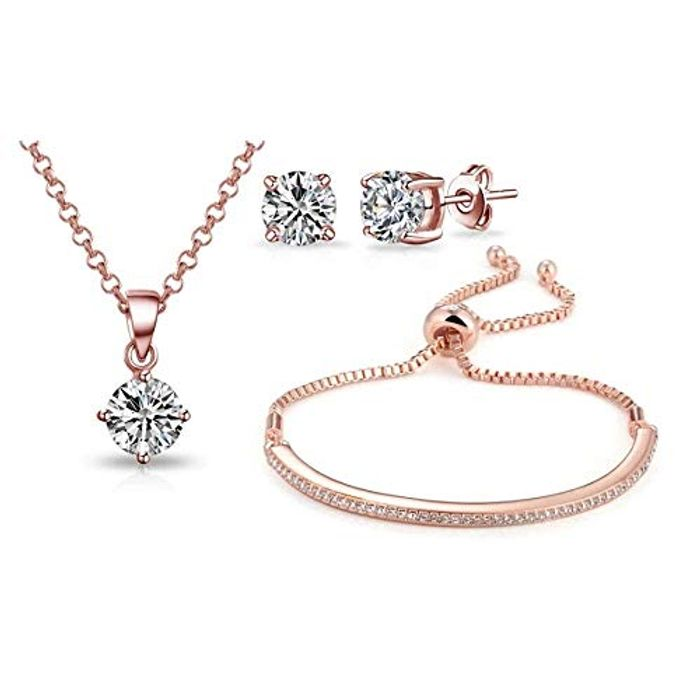 Philip Jones Rose Gold Friendship Set Created with Austrian Crystals