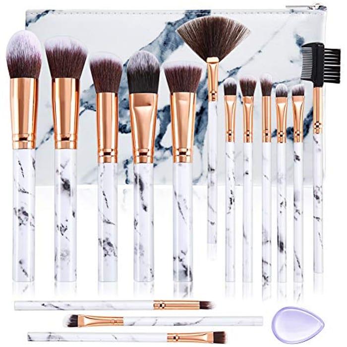 Lightning Deal! DUAIU 15Pcs Professional Make up Brushes Set