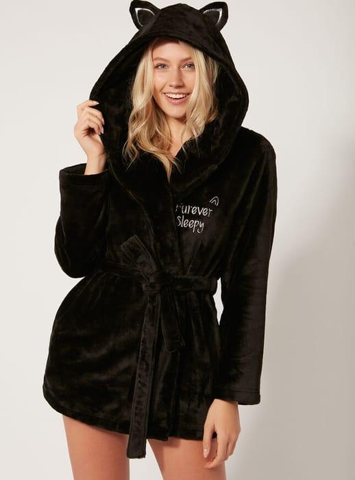 Black Cat Robe - Black