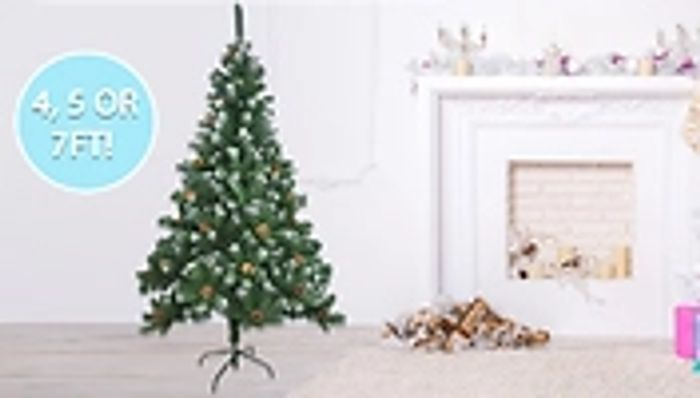 Artificial Christmas Tree with Snow & Cones 3ft £14.99, 5ft £19.99, 7ft £34.99