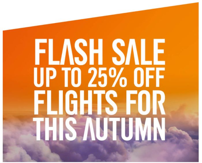 Getaway This Autumn with up to 25% off Flights
