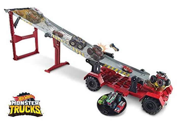Hot Wheels GFR15 Monster Trucks Downhill Race and Go Track Set