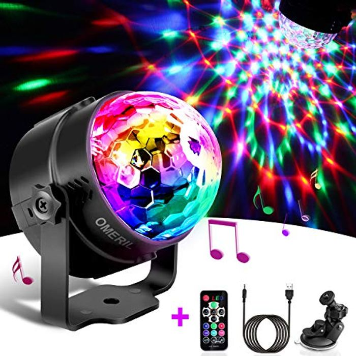 Disco Lights, OMERIL Sound Activated Disco Ball Lights with 4M/13ft USB Cable