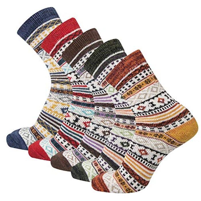 5 Pairs Womens Socks Wool