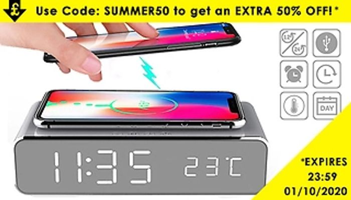 2-in-1 LED Alarm & Wireless Charging Station + EXTRA 50% Off