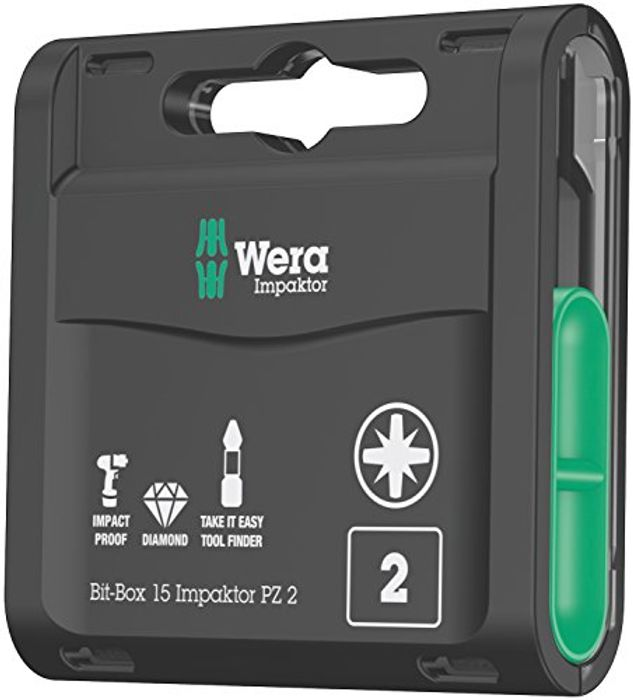 Wera Bit-Box 15 Impaktor PZ2 TriTorsion Impact Bits - Only £14.95!