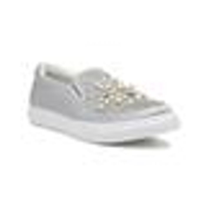 Fabulous Womens Silver Pearl Slip on Canvas