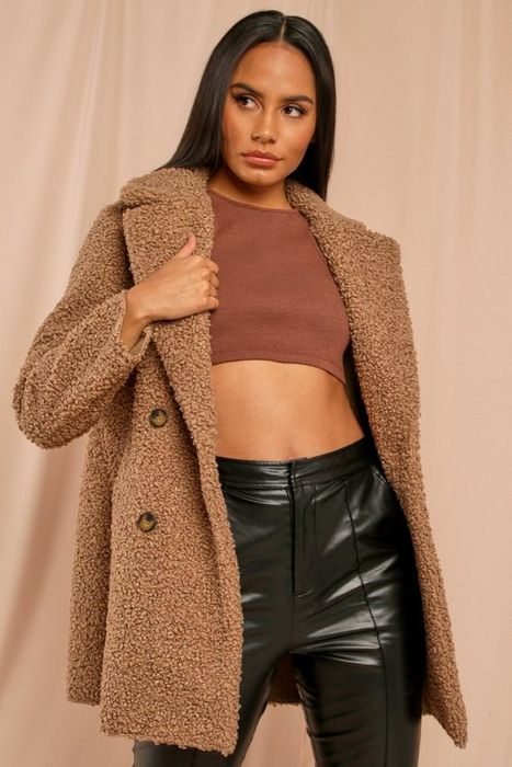 Double Breasted Faux Fur Teddy Coat (2 Colours)