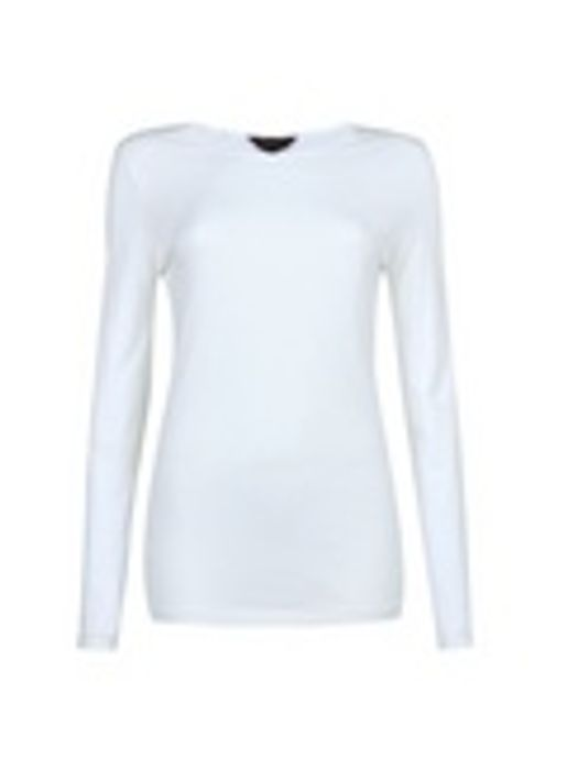 Tall White Long Sleeve Cotton Top