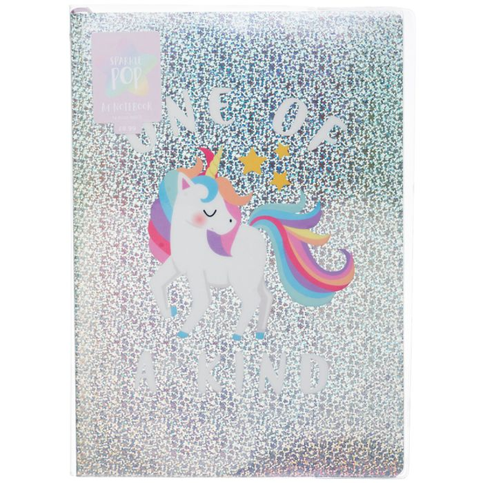 Cheap WHSmith Sparkle Pop Unicorn Holographic A4 Notebook at WHSmith