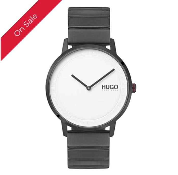 HUGO ECHO Men's Grey IP Stainless Steel Bracelet Watch