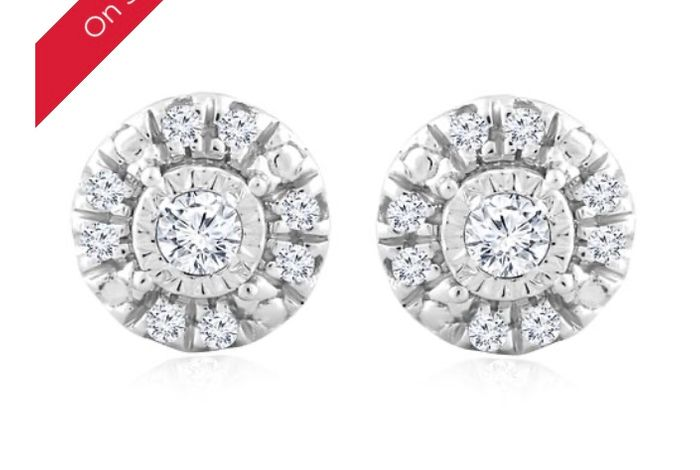 Silver Diamond round Solitaire Halo Stud Earrings