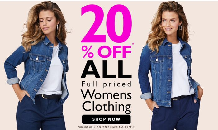 20% off All Full Priced Womens Clothing + Free Delivery on Orders over £20