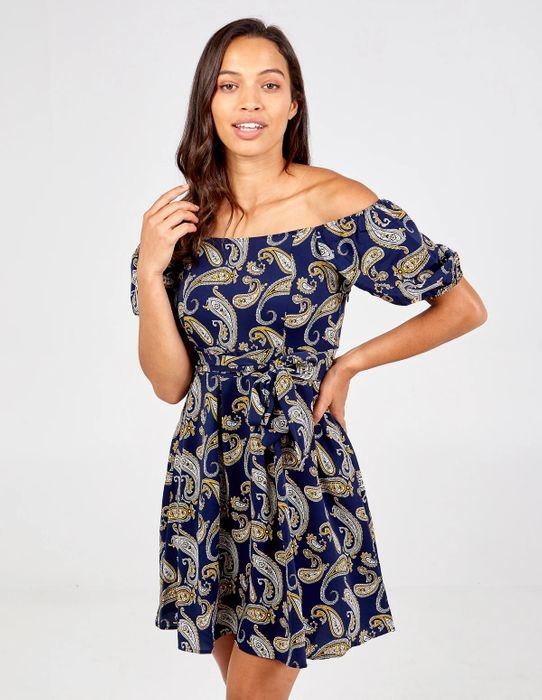 Daisie Pleated Tie Back Paisley Print Dress