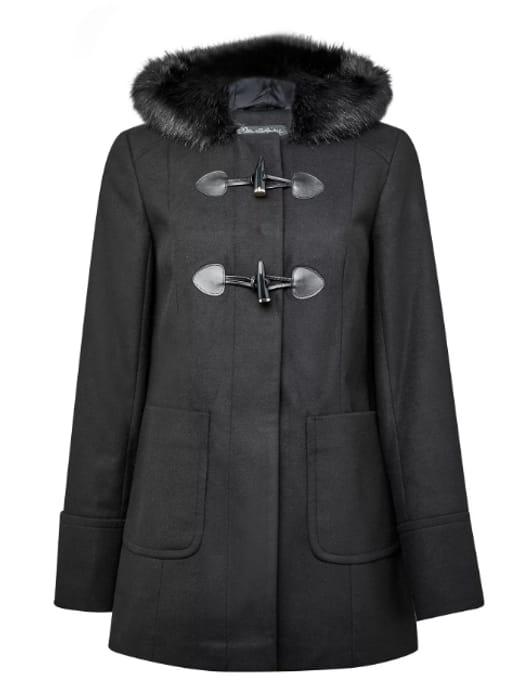 Cheap Ladies Black Duffle Coat at Miss Selfridge - Only £30!