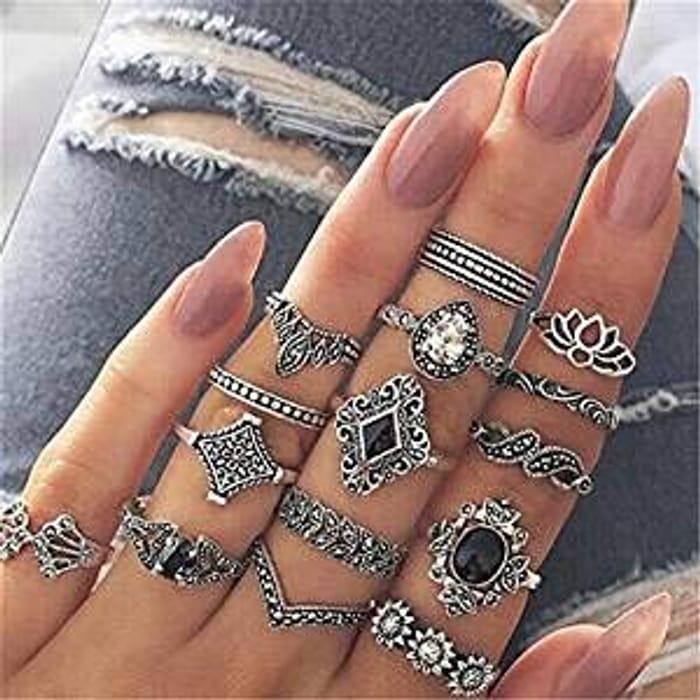 Boho Style Silver Rings Set 15pcs