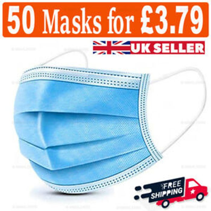 50 X 3 PLY DISPOSABLE FACE MASKS