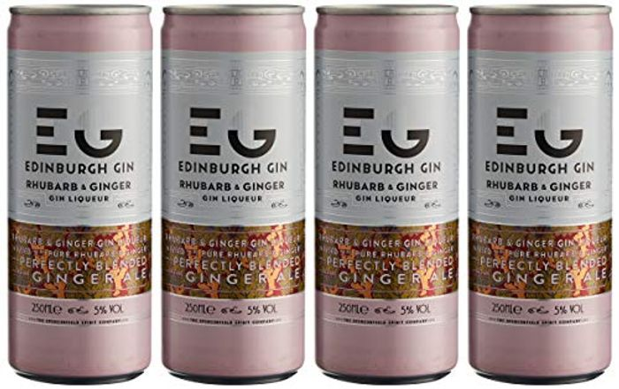Edinburgh Gin Rhubarb and Ginger Gin Liqueur Mixed with Ginger Ale 4 X 250ml