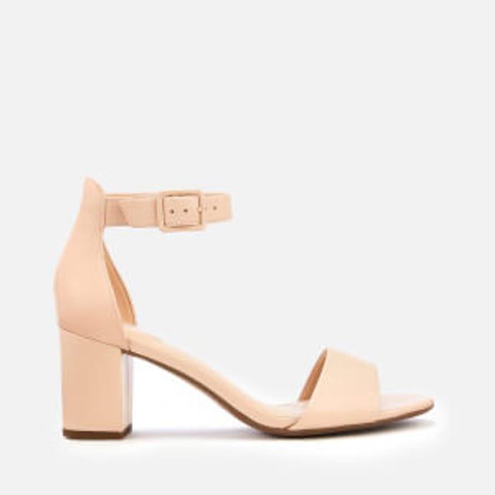 Clarks Women's Deva Mae Leather Block Heeled Sandals - Nude . Size 8
