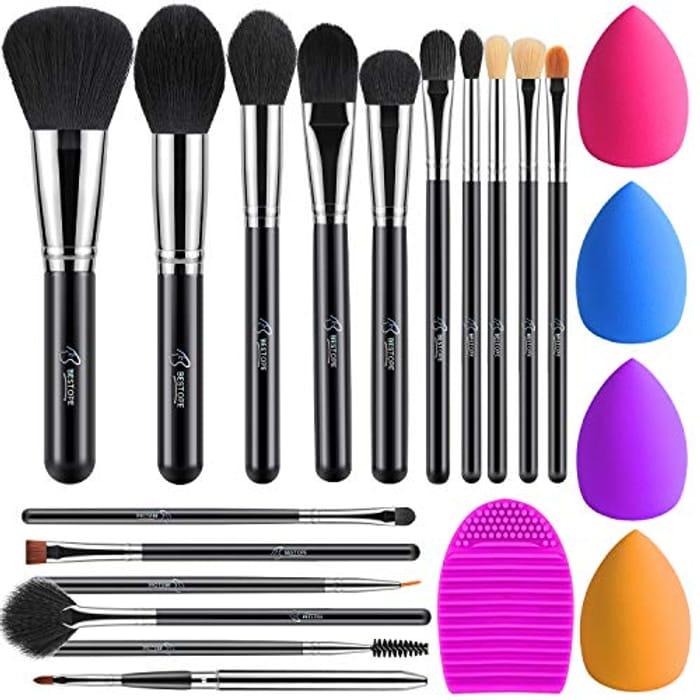 16PCs Makeup Brushes, Sponges & Brush Cleaner Set - Save 50%