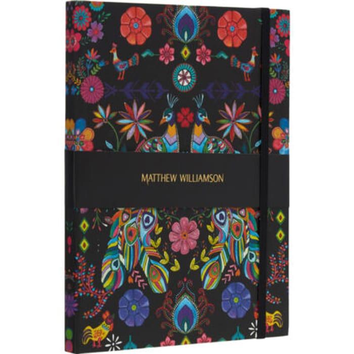 MATTHEW WILLIAMSON Black Pampas Peacock Notebook 25x18cm