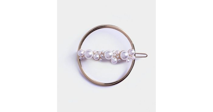 Gold Circle Faux Pearl Hair Slide