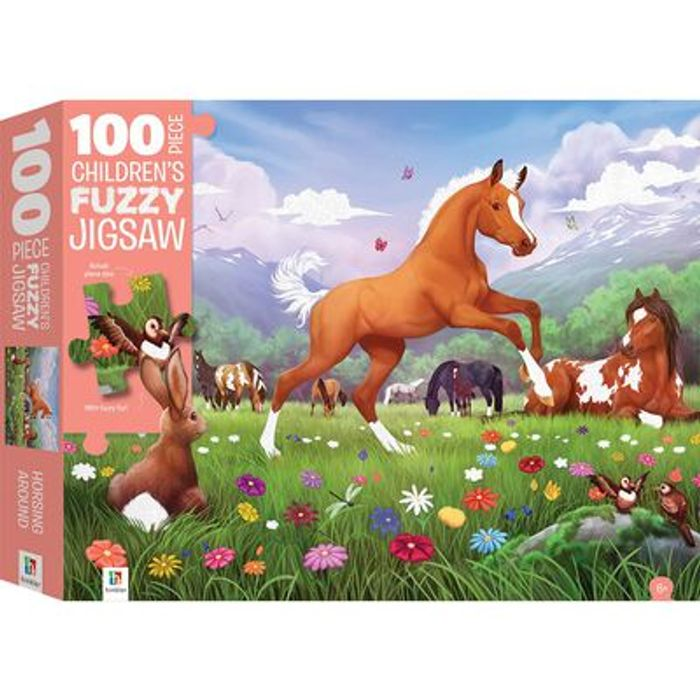 Cheap 100 Piece Children's Fuzzy Jigsaw Puzzle: Horsing Around at The Works