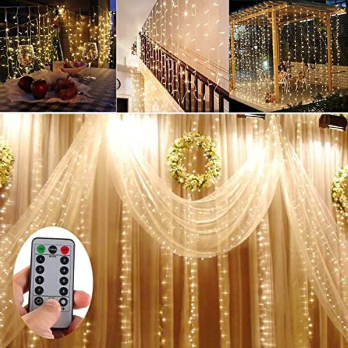 Battery Operated 300 LED Curtain String Lights W/ Remote