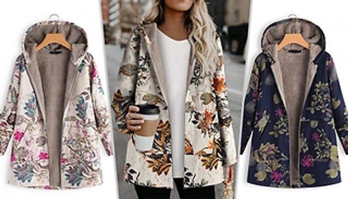 Autumn Print Fleece Lined Hooded Jacket + EXTRA 10% Off