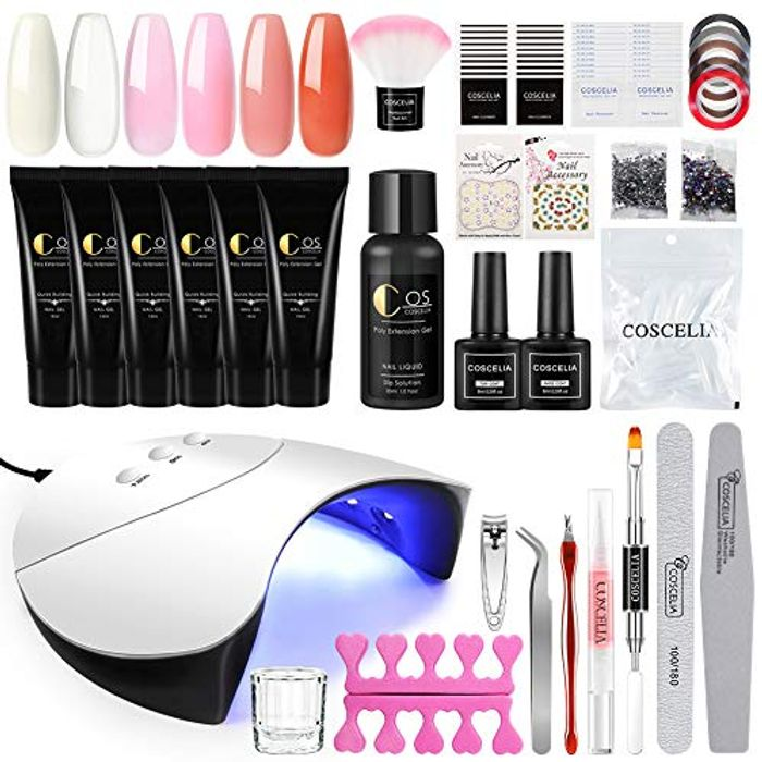 6 Colours Poly Extension Gel Nail Kit with 36W Nail Lamp - save 50%