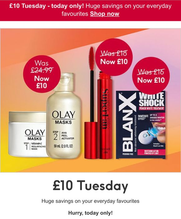 Flash Sale £10 Tuesday ! Boots.