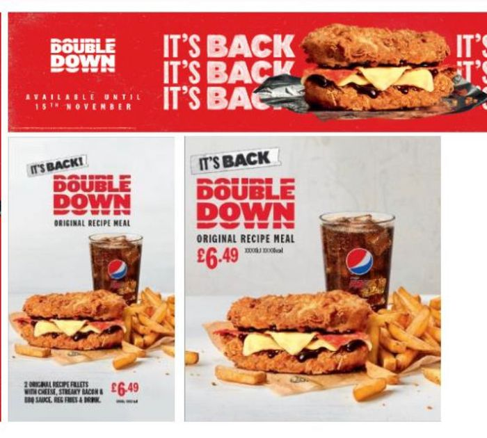 KFC Double down is Back. Instore and on Uber Eats