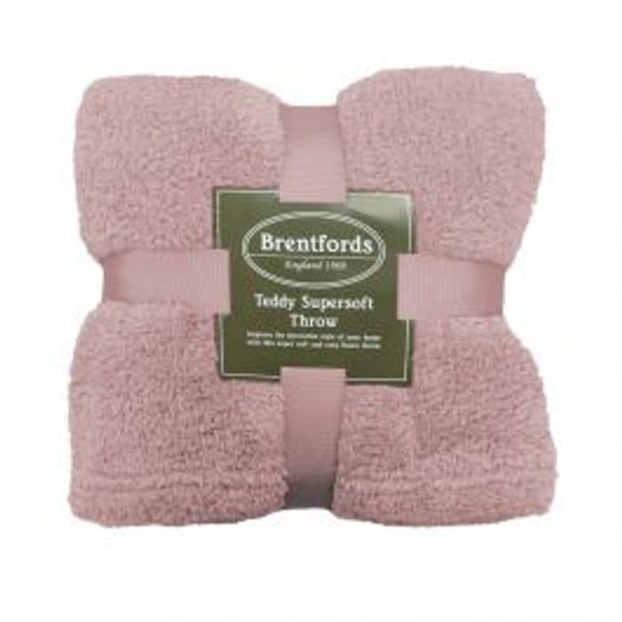 CHEAP! Brentfords Teddy Fleece Blanket Throw, Blush Pink - 125 X 150cm