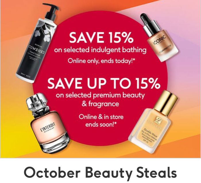 October Beauty Steals, Save up to 15% on trending premium beauty & fragrance