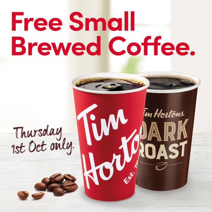 Free Small Brewed Coffee at Tim Hortons - Today Only
