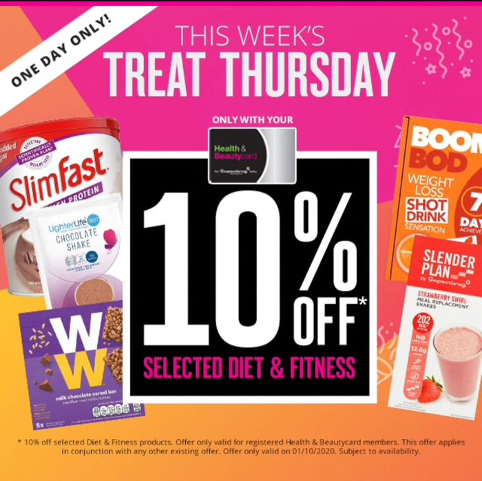 One Day Only This Week Thursday Treat 10%OFF Selected Diet and Fitness