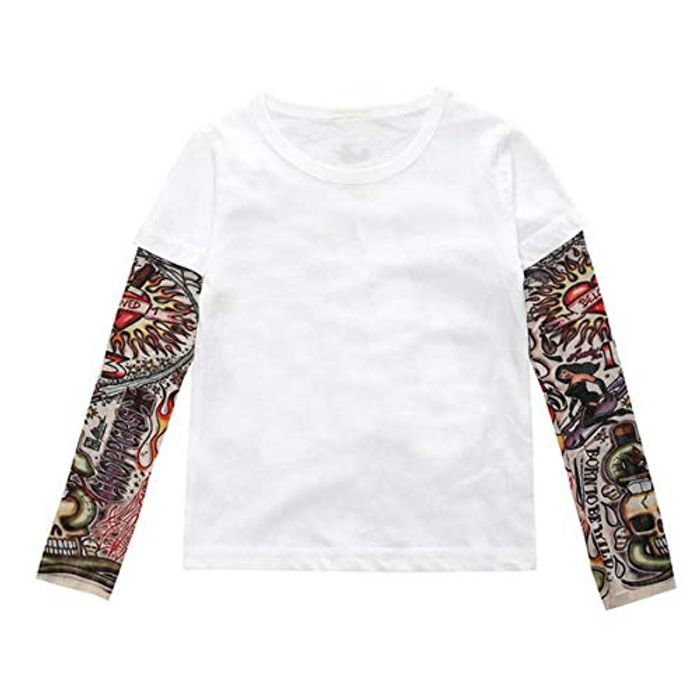 Long Sleeve Tattoo Print Pullover Top Shirt for Kids