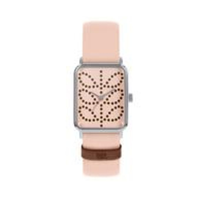 Orla Kiely Pink Stem Print Tank Dial Pink Leather Strap Watch