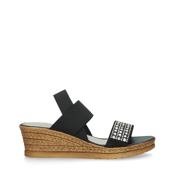Carvela Comfort-Black 'Seyla' Embellished Wedge Heel Sandals  ( Size 4 )