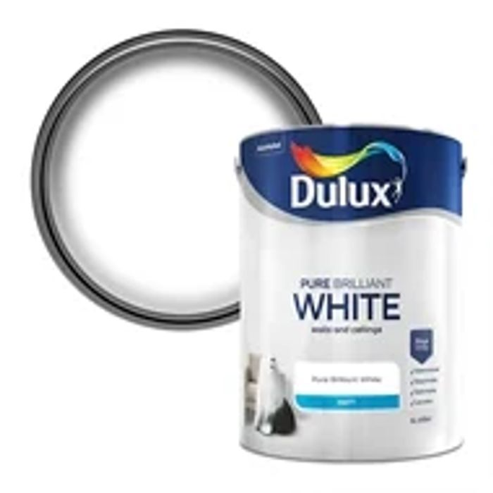 Cheap Dulux Pure Brilliant White - Matt Emulsion Paint - 5L - Only £12!