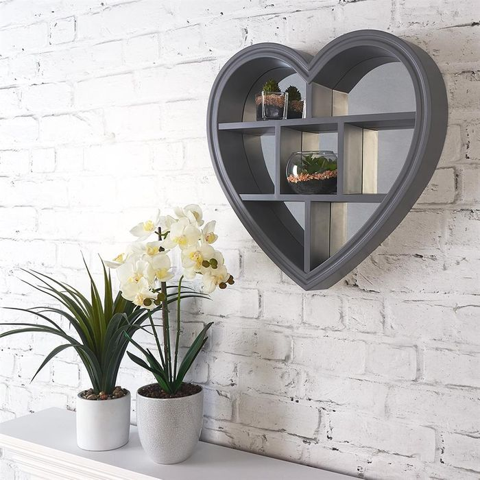 Heart Mirror Shelf Grey at Home Bargains