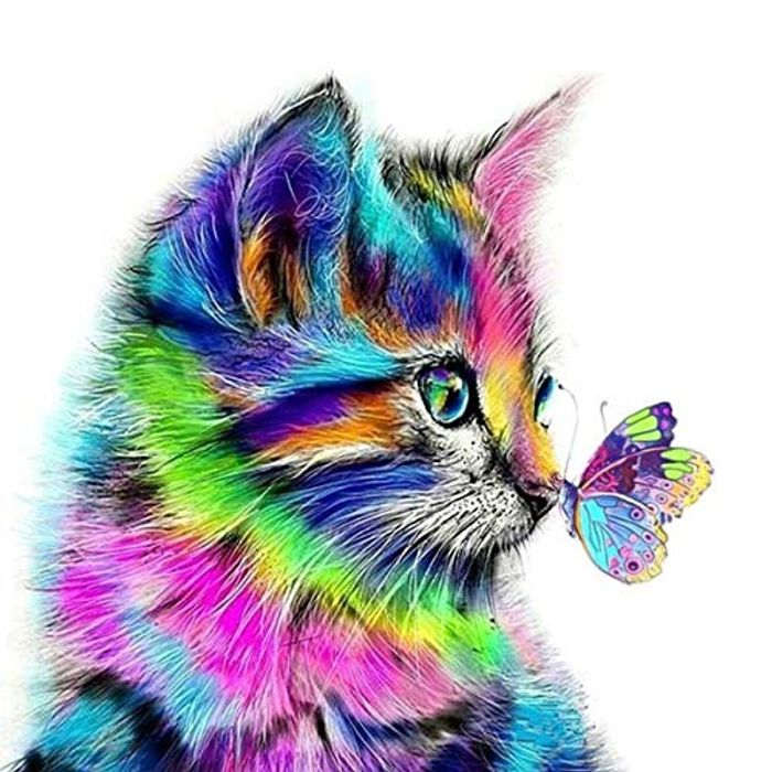 Cat Butterfly Rhinestone Embroidery Arts Craft for Home Decor 30 X 30 Cm