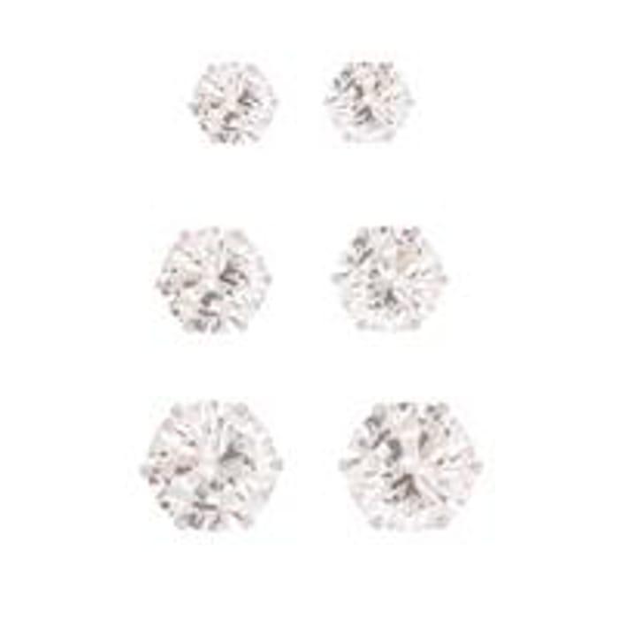 Set of 3 Silver CZ Stud Earrings