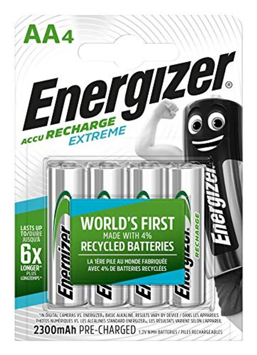 Energizer Rechargeable Batteries AA, Recharge Extreme, Pack of 4 Grey