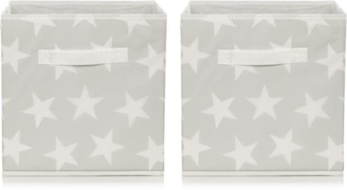 Set of 2 Grey Star Print Storage Boxes