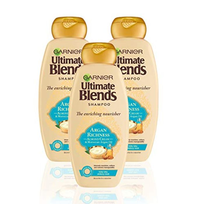 Garnier Ultimate Blends Argan Richness Dry Hair Shampoo 360ml - Pack of 3