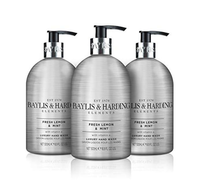 Baylis & Harding Elements Lemon & Mint, 500ml Hand Wash, Pack of 3