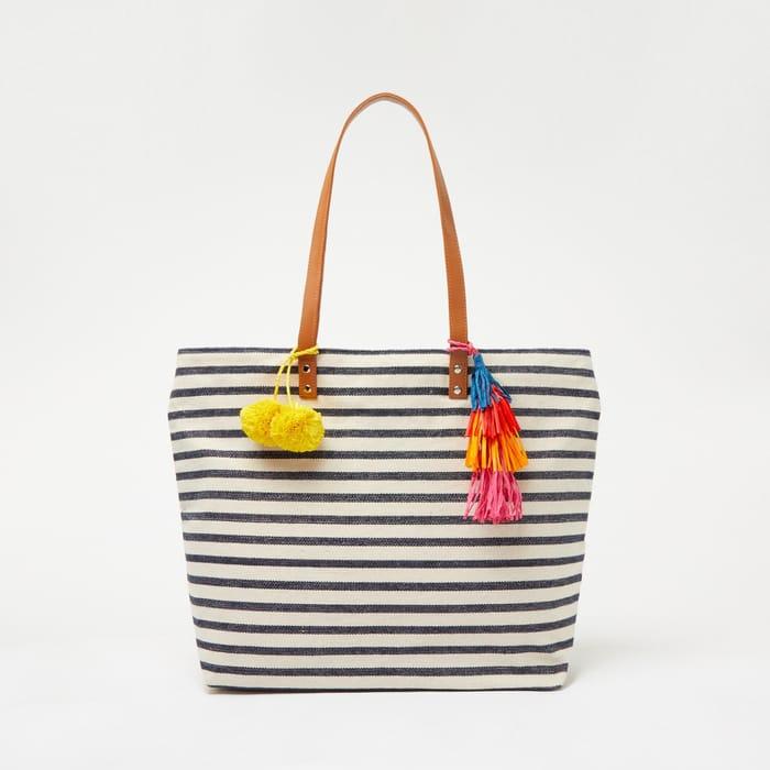 Principles - Multicoloured Stripe Print Tassel Trim Canvas Shopper Bag